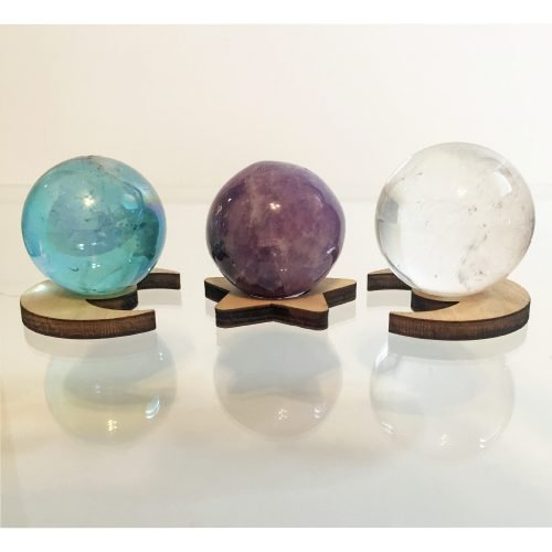 Celestial Harmony Crystal Set with Sun and Moon Stands